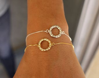 Swarovski Bracelet, Dainty Bracelet, Circle Bracelet, Infinity Bracelet, Charm Bracelet, BraceletFor Women, Bridesmaid Bracelet, Gift