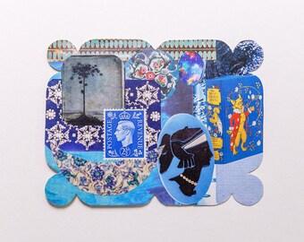 blue, original paper collage