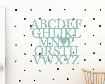 Children's Alphabet ABC I Love You Word Wood Cut Out Wall Art Nursery Decor