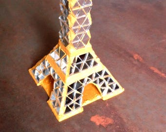Eiffel Tower gilded mirror, modern decor, Eiffel Tower decorated glass mosaic, Mozalicia, unique creation