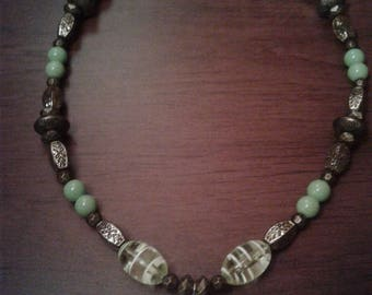 Green Owl Necklace and Earring Set