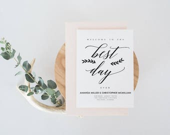 Foldable Wedding Program Template Modern Wedding Program Template  Wedding Program Printable Wedding Ceremony Template Rustic Elegant