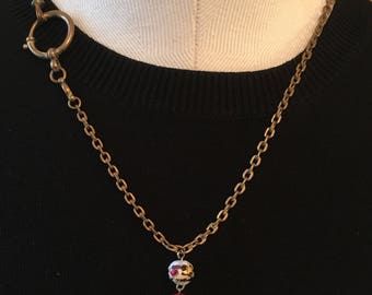 Victorian 10K watch chain from Ireland with Venetian glass beads