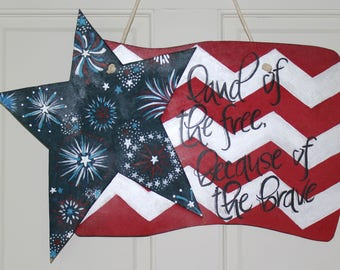 American Flag Door Hanger, patriotic door hanger, 4th of July door decor, 3-D door art, summer door hanger, Independence Day, Wreath