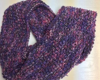 Cowl soft luxurious Italian yarn wool Mohair Acrylic variegated shades of purple pink gray white Hand knit seed stitch