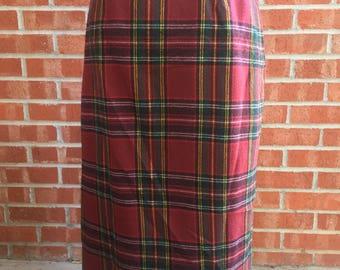 Vintage 80s Summit Sportswear Red Plaid Skirt. Size 12
