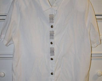 Vintage White Short Sleeve Button Down
