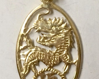 14K Yellow gold Dragon with Good Luck Chinese character Pendant
