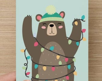 Tis The Season | Holiday Greeting Card | Christmas | cute | bear with lights