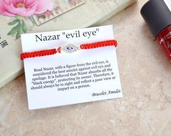 Evil eye bracelet Red Kabbalah Bracelet Good luck bracelet Evil eye jewelry Eye bracelet Red String Bracelet Evil eye charm Gift for her