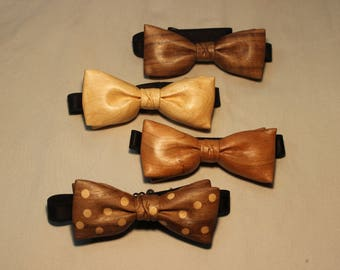 Hand-carved Wooden Bow Ties