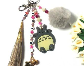 Totoro Keychain - My Neighbor Totoro Keychain - Gibli Fan Gift  - Tassel / Pom Pom - Figure Pendant - Ghibli Film Animation - For her