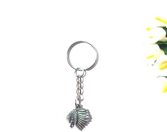Keychain Indians Tribal Head - Keyring Men - Keyring Silver - Keyring Women - Keychain Native American - Ethnic