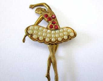 Vintage ballerina brooch, gold ballerina brooch, dancer brooch, ballet brooch, ballerina pin