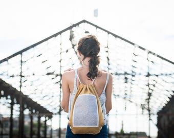 canvas backpack, drawstring bag, drawstring backpack, orange bag, canvas bag, fabric bag, geometric pattern , gym bag