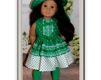 "Heirloom Quality 3 Pc Set.  Dress, Hat & Tights for 18"" Dolls. Clothes only, American Girl Doll of the Year, Jesse, is not included.)  Toy"