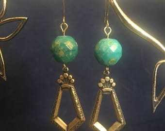 Turquoise and Antique Brass Dangle Earrings