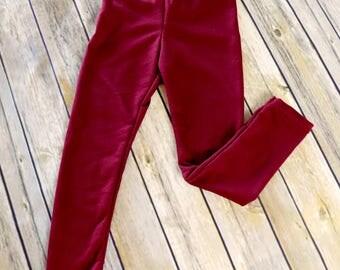 Ready to Ship - Burgundy Leggings - Size 3T - French Terry Leggings - Girls Knit Leggings - Burgundy Girls Leggings