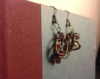 Brown and Silver Wire Wrapped Swarovski Beads