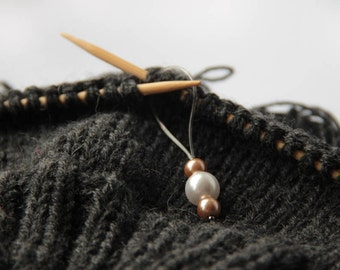 """Handmade Knitting Stitch Markers with Pearls """"Accent"""" set of 3"""