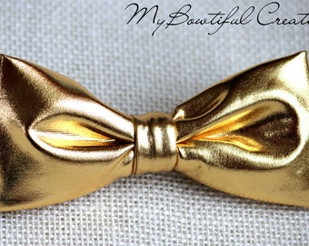 Gold bow tie, golden metalic bow tie, wedding bow tie, groomsmen bow tie, ring boy bow tie, ring bearer bow tie