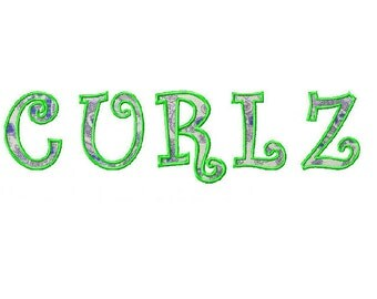 Curlz Font Applique Embroidery file 4x4 hoop PES file instant download