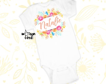 Personalized Floral Baby Outfit - Spring Flowers - Toddler T-Shirt - Custom Toddler Tees - Customized Infant Outfit - Custom Bodysuit