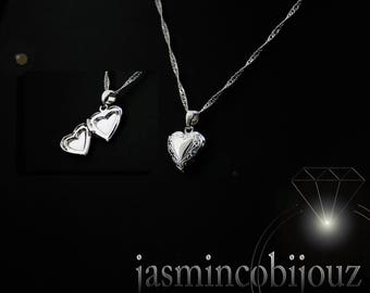 Sterling silver chain Heart Locket pendant necklace ladies