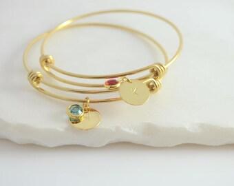Birthstone Initial Bracelet, Birthstone Bracelet, Personalized Birthstone Bracelet, Birthstone Jewelry, Mom Bracelet, Mom Birthday Gift