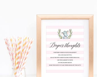 Diaper Thoughts Printable, Late Night Diapers Sign, Elephant Baby Shower Decorations Girl, Baby Shower Table Signs Instant Download PDF, LPE