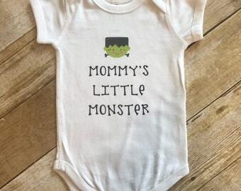Mommy's Little Monster Halloween Themed Onesie, Boy Halloween Onesie, Monster Onesie, Funny Halloween Boy Onesie