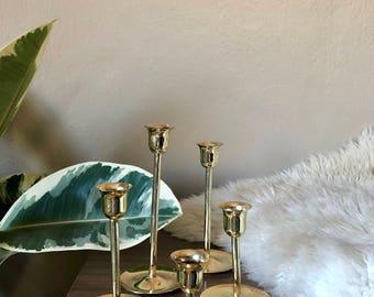 Set of 5 Vintage/Mid Century Stairstep Graduating Brass Tulip Candlesticks