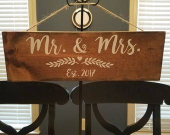 "Wooden Stained ""Mr. & Mrs Est 2017"" Hanging Sign"