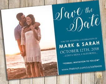 Teal Save the Date Photo Announcement