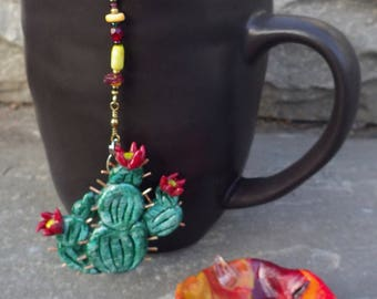 Cactus Tea Infuser with Desert Dish - Handmade Tea Trinket Infuser