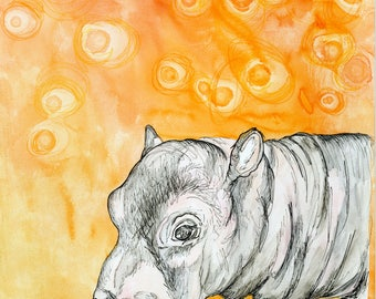 Baby Hippo (original watercolor and ink painting)