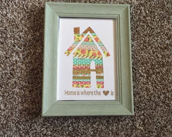 Home is Where the Heart Is - Handmade framed home decor, Housewarming gift