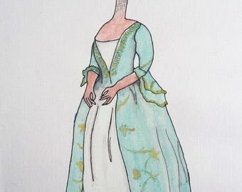 Lady Ostrich, Watercolour, Print.