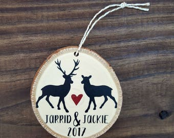 Personalized Deer Couple Ornament | Wood Slice Deer Ornament | Deer Names Ornament | 2017 Custom Ornament | Rustic Wood Painted Ornament