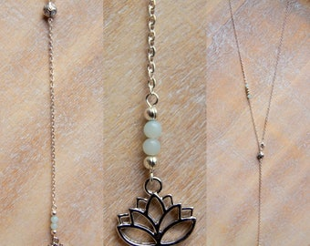 Lotus necklace and gemstone beads