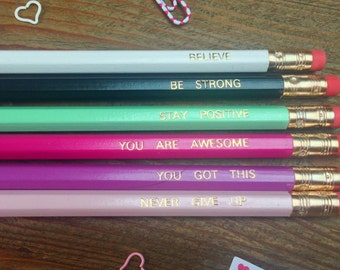 Pencils, Imprinted pencils, Positive pencils, Lead pencils, Pencil set, Positivity, Positive message, You got this,,