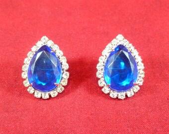 Pierced blue and clear rhinestone costume earrings