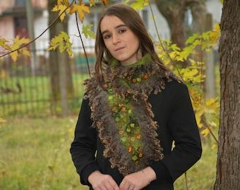 Felted scarf women collar scarf handmade women wool scarf felted wrap felt scarf fur collar green scarf elegant scarf felted fur shawl