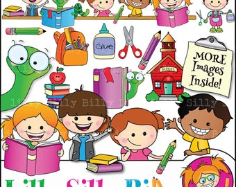 Back to School Clipart, 48 clipart images (BLACK and WHITE & COLOR), Cute school kids and school house, school bus, commercial use.