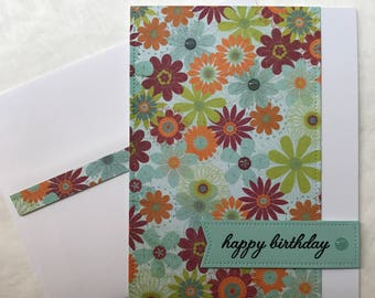 Cheery Happy Birthday Card Floral Flower Handmade Greeting Card (pool, green, orange, maroon)