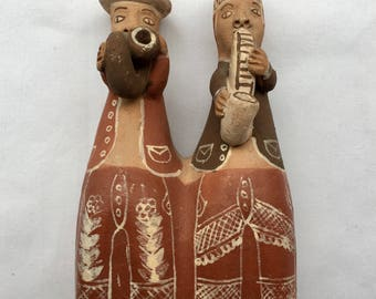 Vintage Peruvian Terra Cotta Folk Art Pottery Two Musicians Flute Whistle - Handmade and Handpainted
