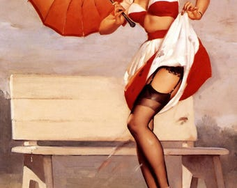 Poster Pin up in the rain, A2, A3 or A4 format. Pinup painted by Gil Elvgren, reproduction on paper 135g blue back.