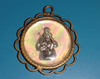 Religious antique French catholic copper medaillon medal pendant of mother of pearl / perlmutt of Saint Anthony