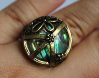 Iridescent glass ring