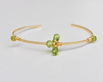 Gold filled 14K Peridot - gold plated bracelet Bangle-designer peridot - women gift jewelry